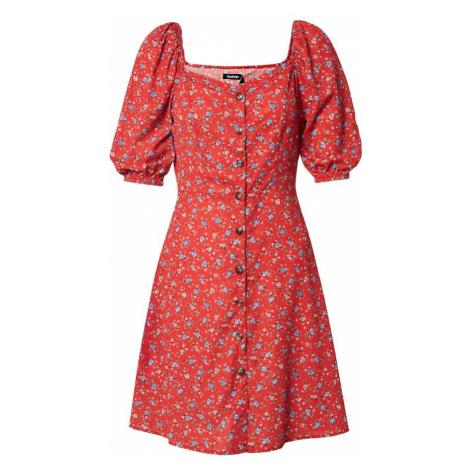 Boohoo Letnia sukienka 'Floral Square Neck Mini Dress' czerwony