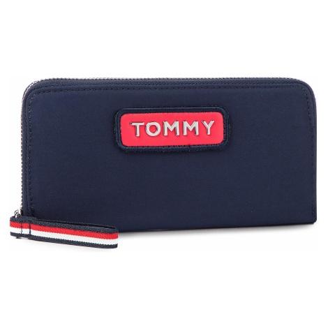 Duży Portfel Damski TOMMY HILFIGER - Varsity Nylon Lrg Za Wallet AW0AW06141 901