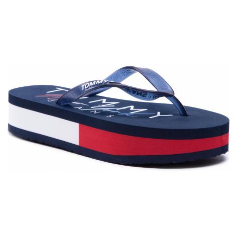 Japonki TOMMY JEANS - Rubber Thong Mid Beach Sandal EN0EN01301 Twilight Navy C87 Tommy Hilfiger