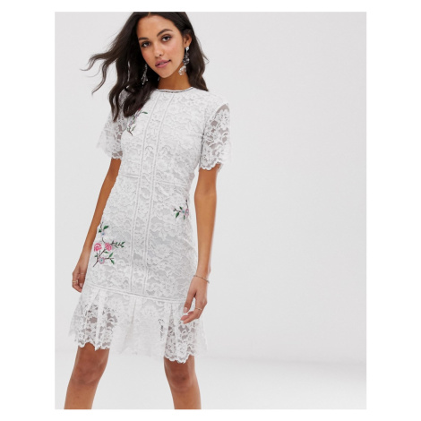 Liquorish lace midi dress with floral embroidery