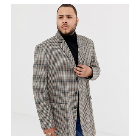 River Island Big & Tall overcoat in brown check