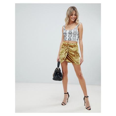 ASOS DESIGN velvet mini wrap skirt