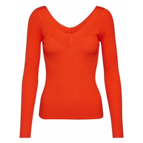 ONLY Sweter 'ONLTANZIA L/S V-NECK PULLOVER KNT' pomarańczowy