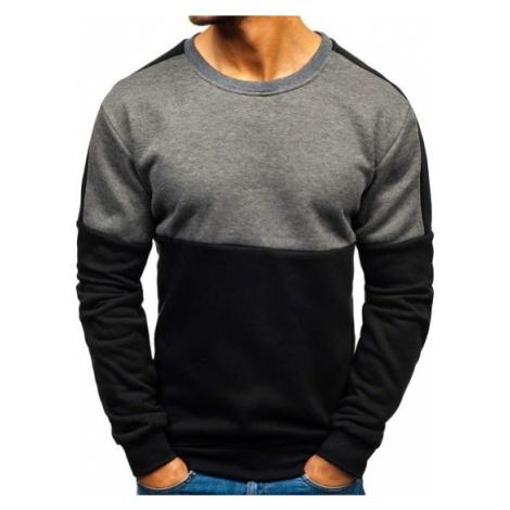Bluza męska bez kaptura czarno-grafitowa Denley TX08 J.STYLE