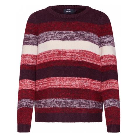 ONLY Sweter 'KAILANA' różowy pudrowy / czerwony / czerwone wino / biały