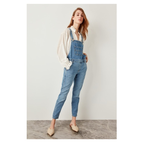 Trendyol Blue Front Pocket Detailed Denim Romper