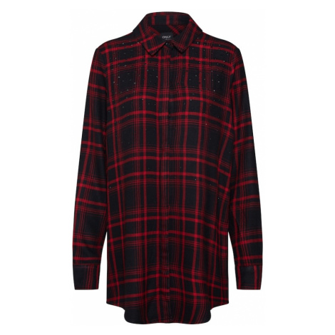 ONLY Bluzka 'onlROCK IT LOOSE LS CHECK GLIT SHIRT DNM' czerwony / czarny