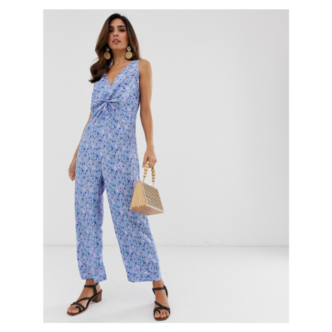 Y.A.S printed v neck culotte jumpsuit