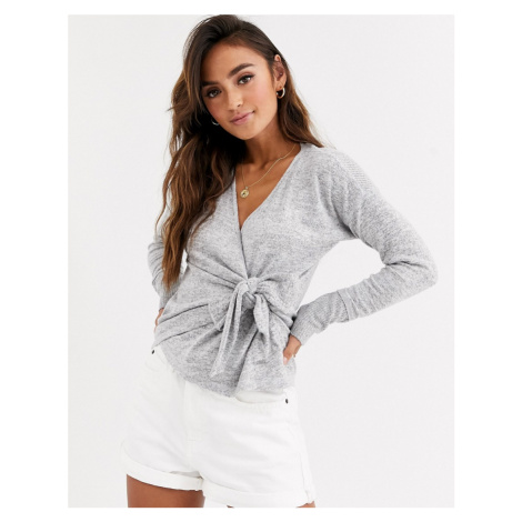 Abercrombie & Fitch cosy off the shoulder top in grey