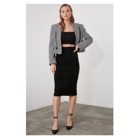 Trendyol Black Mesh Detailed Knitwear Skirt