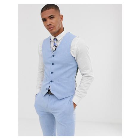 ASOS DESIGN wedding super skinny suit waistcoat in light blue cross hatch
