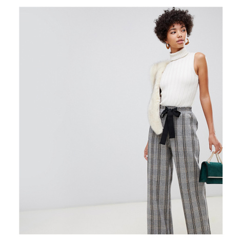 River Island wide leg trousers with tie waist in check