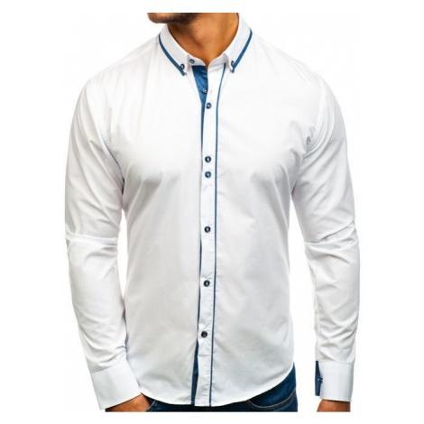 Koszula męska elegancka z długim rękawem biała Bolf 8823