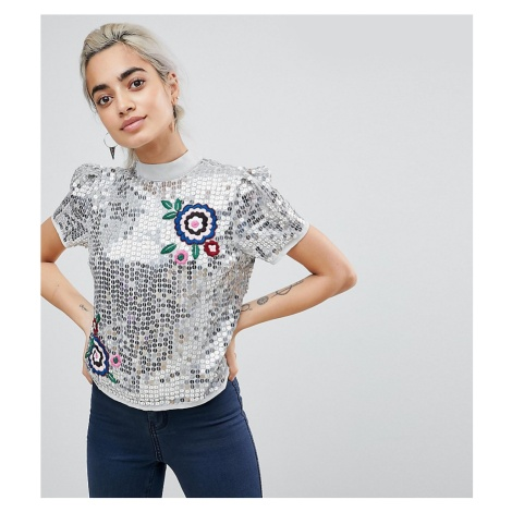 ASOS PETITE Sequin Top with Embroidery Detail