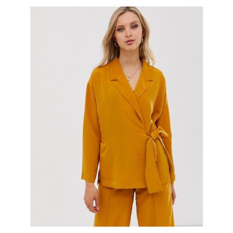 Y.A.S mustard side tie blazer