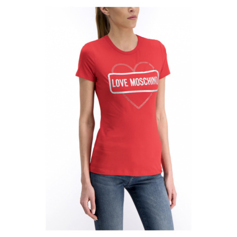 LOVE MOSCHINO T-Shirt W4F7348E2011 Czerwony Regular Fit