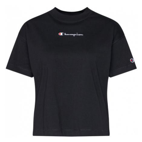 Champion T-Shirt Cropped Oversized Small Script Logo 113195 Czarny Custom Fit