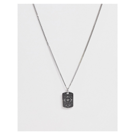 Seven London cross tag necklace in silver