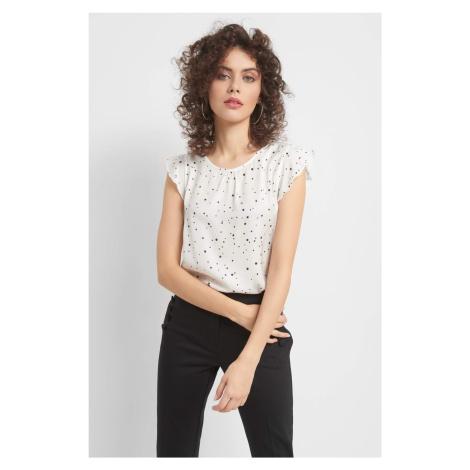 Koszulka bimaterial ze wzorem Orsay
