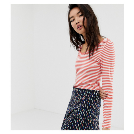 Esprit v-neck long sleeve top with stripe print in red and white