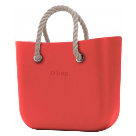O bag torebka MINI Fragola z krótkymi uchwytami linowymi natural