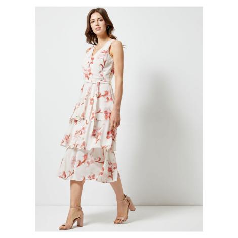 Różowo-biała sukienka midi w kwiaty Dorothy Perkins