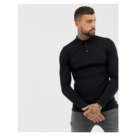 ASOS DESIGN muscle fit long sleeve polo in rib in black