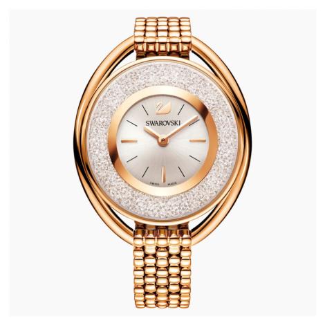 Zegarek Crystalline Oval, bransoleta z metalu, biały, powłoka PVD w odcieniu różowego złota Swarovski