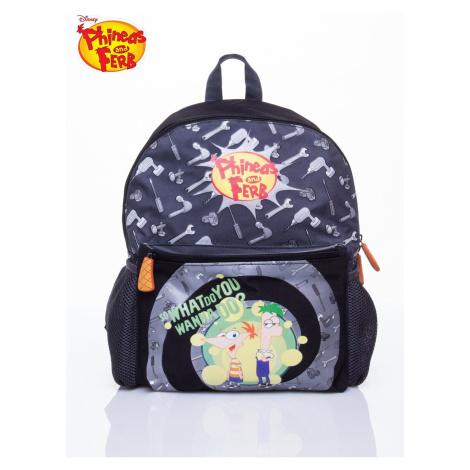 Szary plecak szkolny z motywem Phineas i Ferb