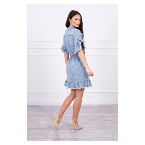 Rozciągnięta sukienka dżinsowa z falbankami S/M-L/XL