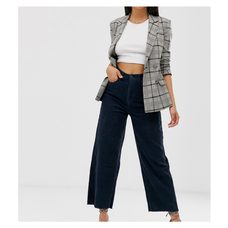 Vero Moda Tall wide leg cropped cord trousers in navy