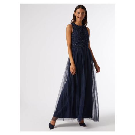 Granatowa sukienka maxi z cekinową górą Dorothy Perkins
