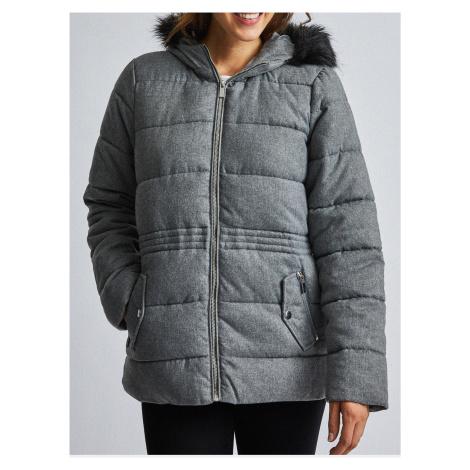 Szara pikowana kurtka z futerkiem Dorothy Perkins