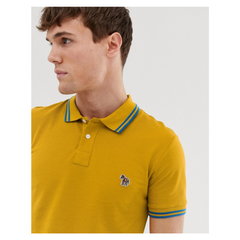 PS Paul Smith slim fit zebra tipped polo in mustard