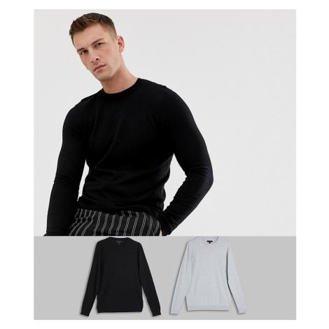 ASOS DESIGN jumper in black / light grey 2 pack save
