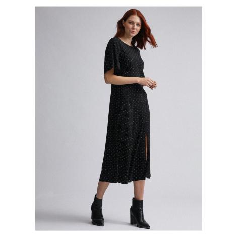 Czarna sukienka midi w groszki Dorothy Perkins