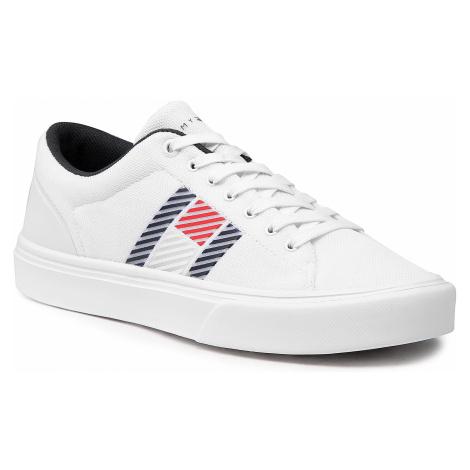 Sneakersy TOMMY HILFIGER - Lightweight Stripes Knit Sneaker FM0FM03400 White YBR
