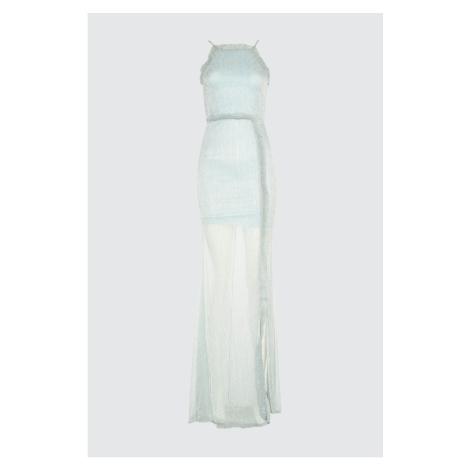 Suknia wieczorowa Trendyol Blue Falbanka & Sukienka na zakończenie