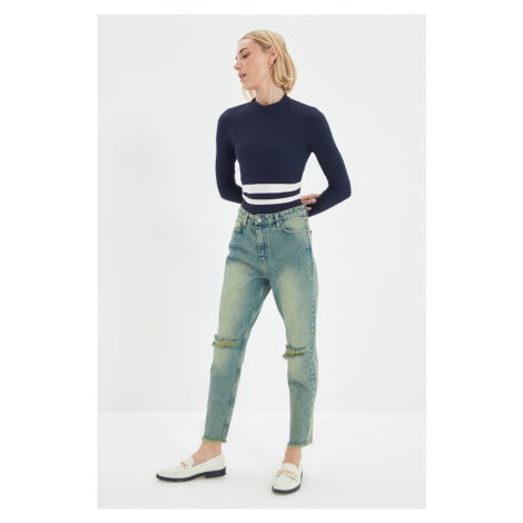 Trendyol Green Wash Effect Ripped Detailed High Waist Mom Jeans