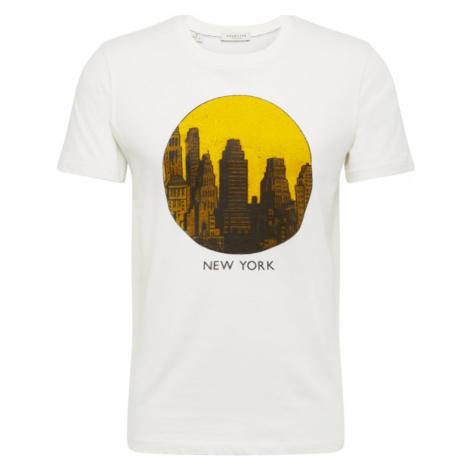 SELECTED HOMME Koszulka 'SLHPAUL SS O-NECK TEE W' brązowy / żółty / offwhite