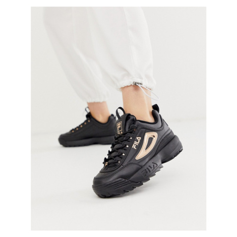 Fila Disruptor II trainers in black with rose gold