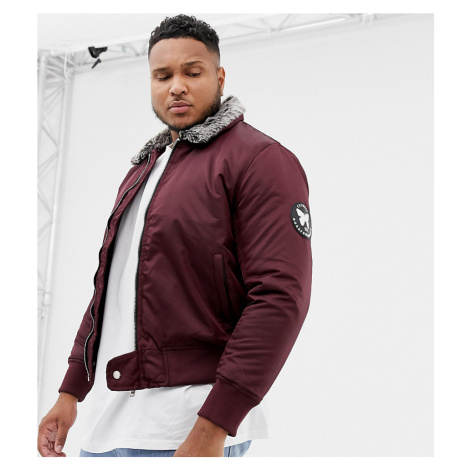 Good For Nothing bomber jacket in red with faux fur collar exclusive to ASOS