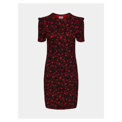Noisy May Lea czerwono-czarna wzorzysta sukienka z pochwą