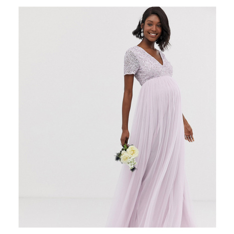 Maya Maternity Bridesmaid v neck maxi tulle dress with tonal delicate sequin in soft lilac