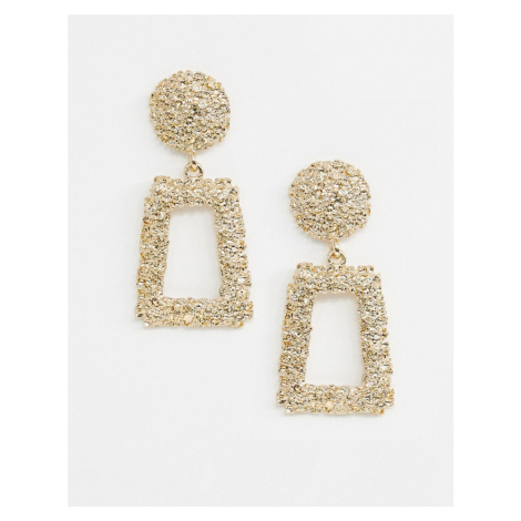 ASOS DESIGN earrings in square shape in gold
