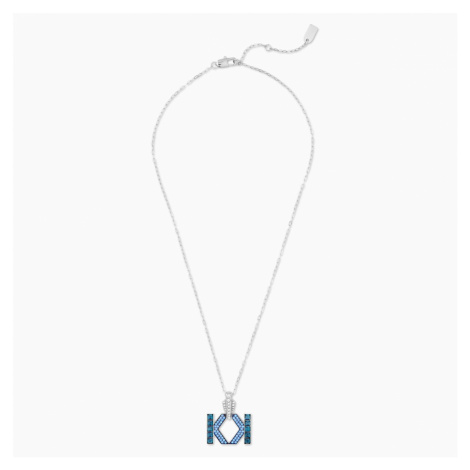 Karl Lagerfeld Logo Necklace, Blue, Palladium plated Swarovski