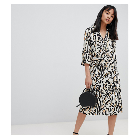 River Island Petite wrap shirt dress in leopard