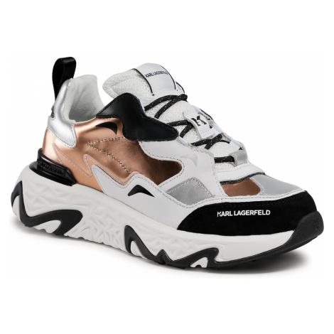 Sneakersy KARL LAGERFELD - KL62421 White Lthr/Textlie W/Pink