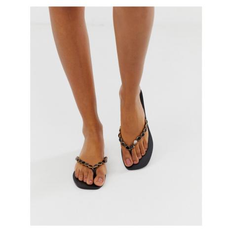 ASOS DESIGN Fitzrovia leather embellished flip flops
