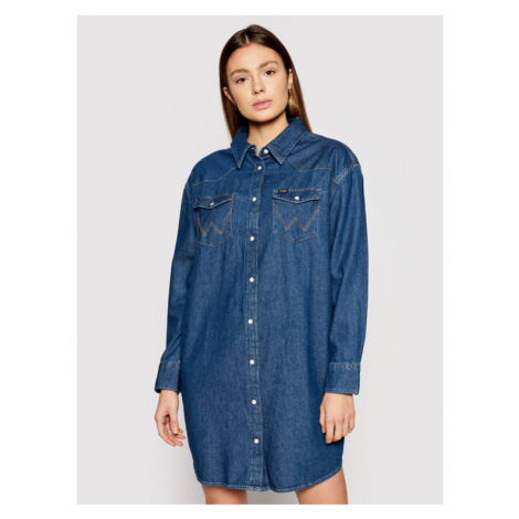 Wrangler Sukienka jeansowa Western W9P6LWX8E Granatowy Relaxed Fit